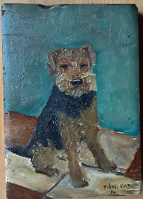 Oil Painting Folk Art Welsh Terrier   Cheryl Korb