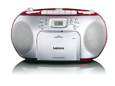 Lenco SCD-420 Rot Tragbarer CD-Player und Kassettendeck, LCD Display, NG98 B