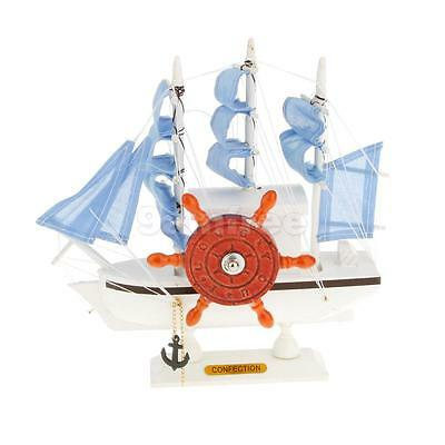 Traditional Wooden Musical Box Sailing Ship Model Home Decor For Elise Blue