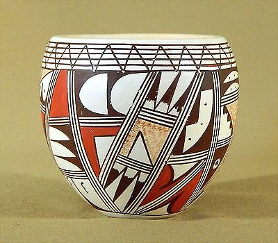 Vintage HOPI-TEWA POLYCHROME POTTERY BOWL by Roberta Youvella Silas c. 1960's