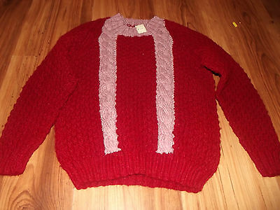 Handknit Gorgeous Burgindy and pink pullover. Sweater.  Size 7 - 8.  NWT.