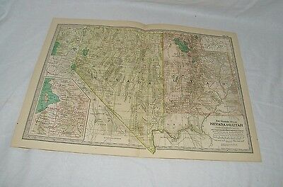 Vintage Nevada and Utah The Map CENTURY DICTIONARY AND CYCLOPEDIA 1906 19609
