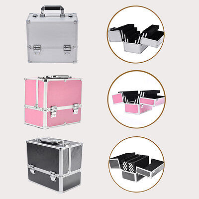 Aluminum Extra Large Space Jewelry Vanity Case Make Up Box Cosmetic Bag Gift