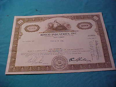 Old Stock Certificate Rimco Industries Inc. 1975 100 Shares Delaware