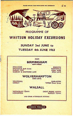 Vintage London Midland Handbill 1963 Whitsun Holiday Excursions 15 Page Booklet