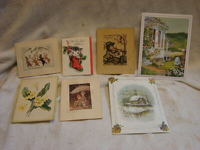 Lot of 7 Antique Mini Greeting Cards