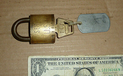 Vintage SET US NAVY,ARMY,Brass Padlock,Lock,M383E Starboard Hold 1,WWII Era Tool