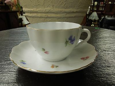 Vintage Decorative Arabia Made in Finland Porcelain Teacup and Saucer Flower Bud