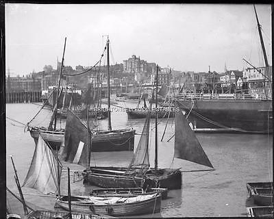 1909 Kent Folkestone Harbour Fishing Boats Unpublished Glass Plate Negative (#2)