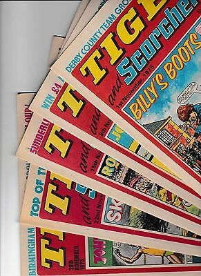 5 x TIGER AND SCORCHER FOR THE MONTH OF NOVEMBER 1975 IN GOOD CONDITION