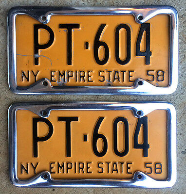 1958 New York license plate pair PT 604 YOM DMV clear Ford Mustang Chevy 1959