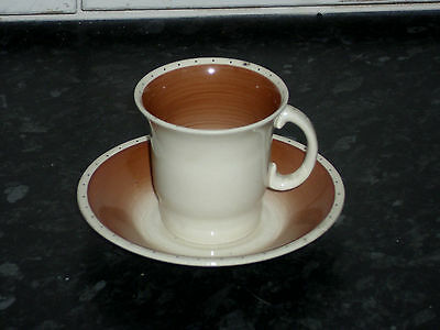 SUSIE COOPER BROWN AND DOTS CUP AND SAUCER 6.5cm TALL