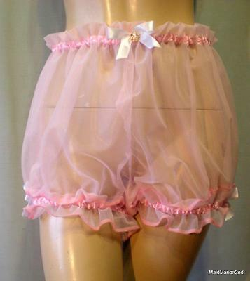 Vintage Style Sheer See-Through Pale Pink Baby-Doll Bloomers Panties Knickers Xl