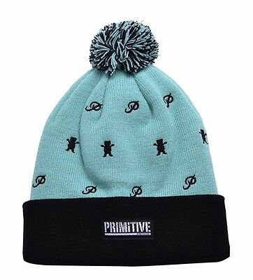 Primitive x Grizzly GripTape Teal Black Icon Top Pom Beanie Winter Skate Hat