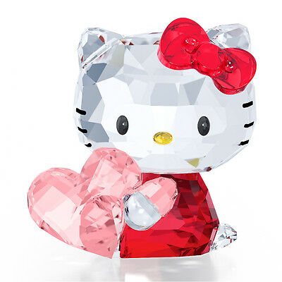 Swarovski Crystal Hello Kitty Pink Heart .new In Box.