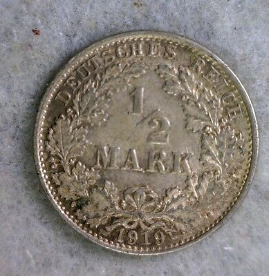 GERMANY 1/2 MARK 1919 D SILVER COIN (stock# 0615)
