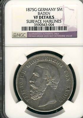 GERMANY BADEN 5 MARK 1875 G  NGC CERTIFIED VF SILVER GERMAN COIN (Stock# 0199)