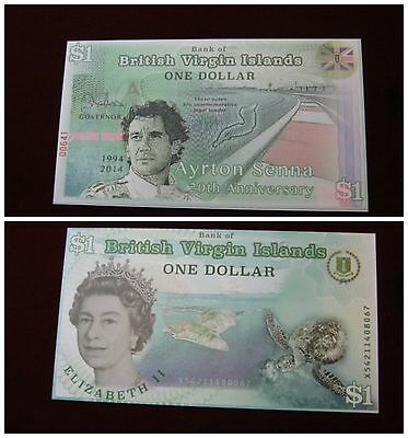 America -British Virgin Islands Ayrton Senna 1 Dollar 2015 fds Polymer