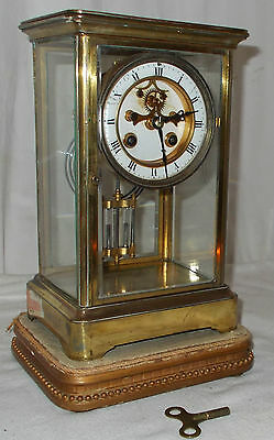 Antique JAPY FRERES Mantel CLOCK In BRASS & GLASS Case CARRIAGE Style With CHIME