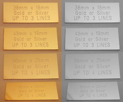 1x ENGRAVED SELF-ADHESIVE TROPHY PLATE PLAQUE AWARD PLATE 4 SIZES GOLD SILVER