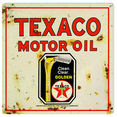 Reproduction Texaco Golden Motor Oil Metal Sign 12X12