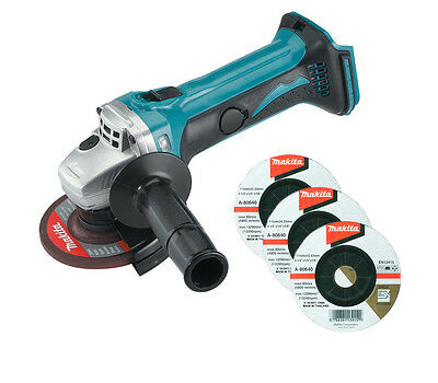 Makita 18v Lithium-Ion Angle Grinder BGA452 Body Only + 3 Grinding Discs
