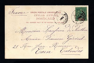 19045-FRENCH INDIA-INDE FRANÇAISE-POSTCARD PONDICHERY to CAEN (france) 1908.UPU.