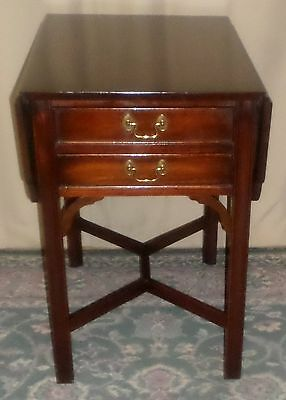 HENKEL HARRIS MAHOGANY END TABLE Marlboro Drop Leaf #5425 VINTAGE
