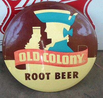 VINTAGE Celluloid TIn BUTTON SIGN Rootbeer Soda.