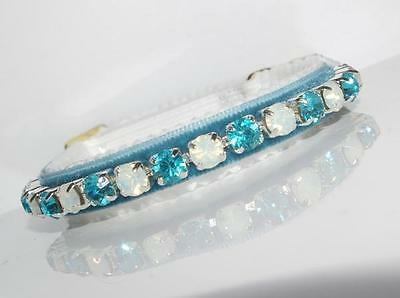ENCHANTMENT AQUAMARINE & OPALS made with SWAROVSKI CRYSTAL CAT COLLAR