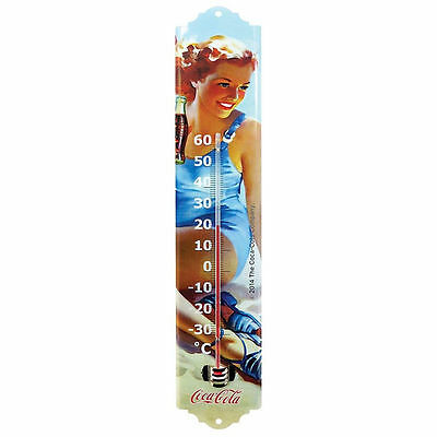 Coca Cola Vintage Pinup THERMOMETER ~ Wall Sign Plaque Advertising  Retro Coke