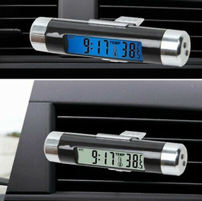 Mini LED LCD Light Digital Clock Thermometer Temperature Clip on Car Air Vent US