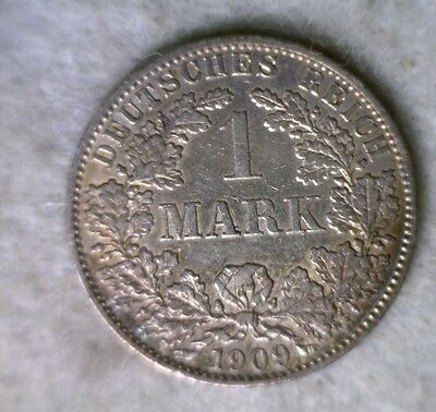 GERMANY 1 MARK 1909 A  EXTRA FINE SILVER COIN ( stock# 0611)