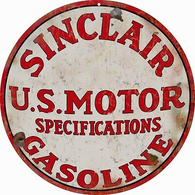 "Sinclair US Motor Vintage Looking 14"" Gasoline Reproduction Metal Sign Round"
