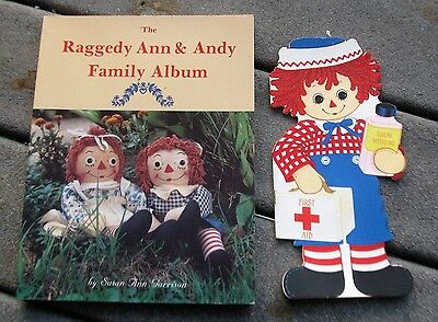 Raggedy Ann & Andy Family Album Doll Toy Book & 1974 Andy Hallmark Card Book