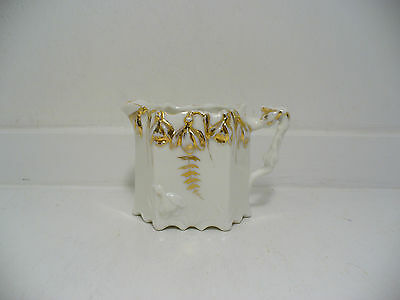 Vintage Creamer White Ceramic with Gold Color Accents Floral Design