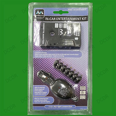 In-Car Cassette Player Aux Lead Adapter With Assorted Power DC Output Charger