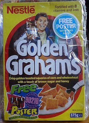 RARE 1993 un-opened Full Golden Grahams Cereal Box from UK  90210 TV show Poster