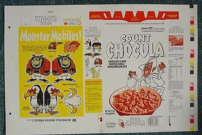 1982 White Count Chocula Cereal Box Printers Proof Flat Monster Mobile series 83