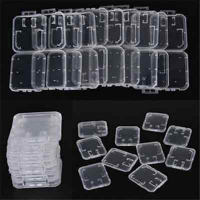 10X Plastic Transparent Standard SD SDHC Memory Card Case Holder Box Storage TR
