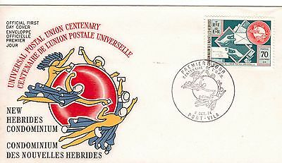 New Hebrides(French):1974:Centenary of U.P.U.,Stamp.on FDC