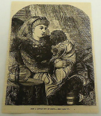 1878 magazine engraving ~ LITTLE GIRL PLAYS DRESS UP WITH SKYE TERRIER