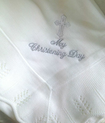 White My Christening Day Baby Shawl  White Shawl New Blanket Baby Swaddling