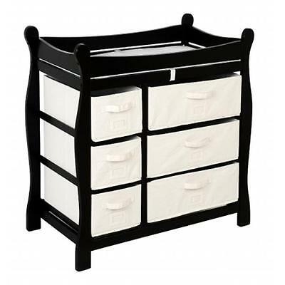 Badger Basket 02413 Black Sleigh Style Changing Table With Six Baskets