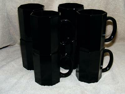 Black Octime Glass Arcoroc France Set Of 8 Tall Mugs Octagon Free Ship