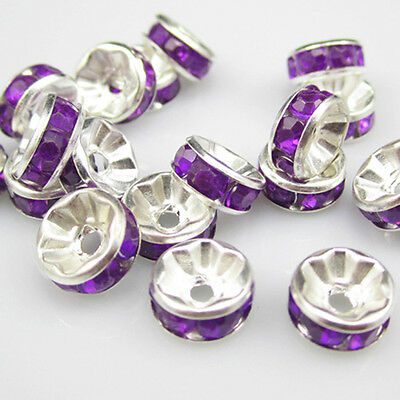 NEW for jewelry 100pcs Size 8MM Plated silver crystal spacer beads purple colors