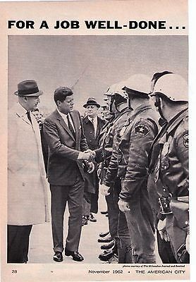 1962 Harley Davidson President Kennedy in Milwaukee, Police Motorcycle Print Ad