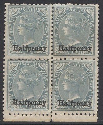NEW SOUTH WALES 1891 1/2d ON 1d  SG 266   MINT BLOCK