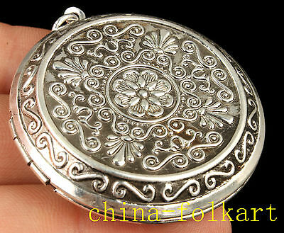 Collect Old Tibet Silver Embossing Delicate Box Locket Necklace Pendant