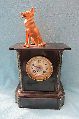 Antique French Ad Mougin Slate And Marble Clock For Tlc